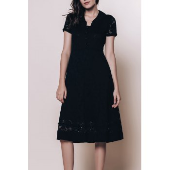 Vintage Style Short Sleeve V-Neck Lace Women's Black Dress - BLACK 2XL