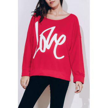Stylish Long Sleeve Scoop Collar LOVE Letter Pattern Women's Sweatshirt