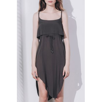 Sexy Spaghetti Strap Sleeveless Solid Color Asymmetrical Women's Slit Dress