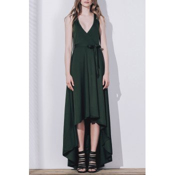 Graceful Solid Color Sleeveless Pleated Asymmetric Maxi Dress For Women