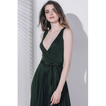 Graceful Solid Color Sleeveless Pleated Asymmetric Maxi Dress For Women - BLACKISH GREEN S