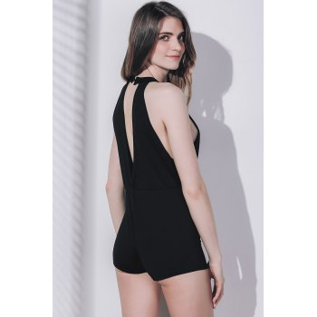 Manches Sexy Plongeant Neck Pure Color Cut Out Bodycon Romper des femmes - Noir S