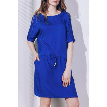 Chic Short Sleeve Round Neck Lace Design Women's Dress