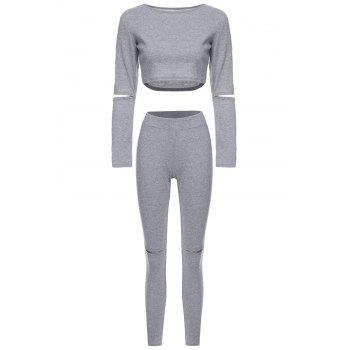 Buy Stylish Long Sleeve Scoop Neck Solid Color Hollow Crop Top + Skinny Pants Women's Twinset GRAY