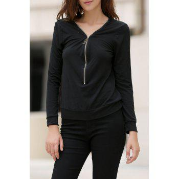 Trendy Solid Color Alloy Zippered Long Sleeve Sweatshirt For Women