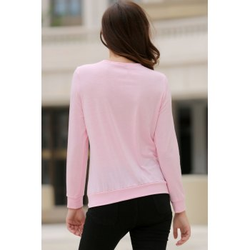 Trendy Solid Color Alloy Zippered Long Sleeve Sweatshirt For Women - PINK S