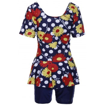 Sweet Women's U-Neck Flower and Polka Dot Print Short Sleeve Swimsuit - 3XL 3XL