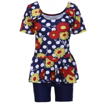 Sweet Women's U-Neck Flower and Polka Dot Print Short Sleeve Swimsuit
