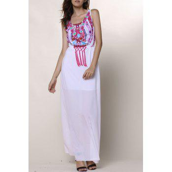 Ethnic Style Sleeveless Round Collar Printed Women's Dress