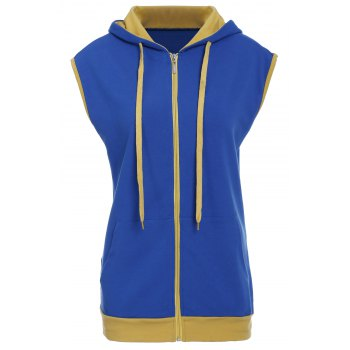 Trendy Drawstring Color Block Spliced Sleeveless Men's Waistcoat - BLUE BLUE