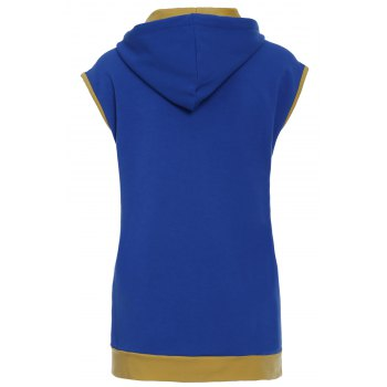 Trendy Drawstring Color Block Spliced Sleeveless Men's Waistcoat - BLUE M