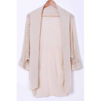 Stylish Collarless Long Sleeve Hollow Out Knitted Women's Cover-Up