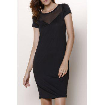 Short Sleeve Voile See-Through Dress For Women