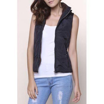 Stylish Sleeveless Hooded Zip Up Women' Padded Waistcoat