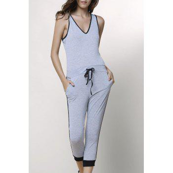 Stylish V-Neck Sleeveless Drawstring Spliced Women's Jumpsuit