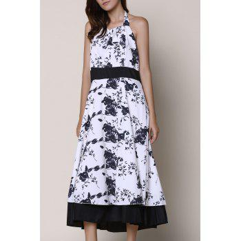 Vintage Floral Printed Halter High Waist Pleated Ball Gown Dress For Women
