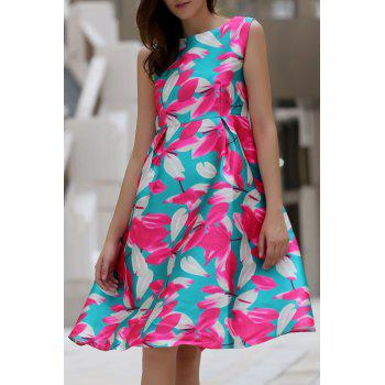 Stylish Flower Print Slash Neck Sleeveless Dress For Women
