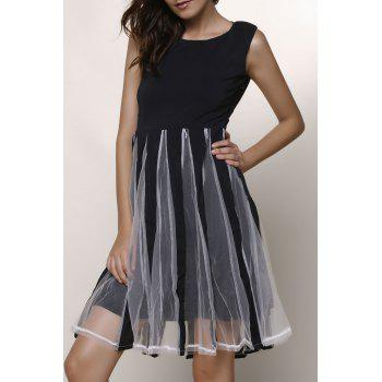 Stylish Women's Jewel Neck Sleeveless Mesh Splicing Color Block Dress