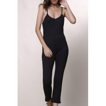 Casual Women's Spaghetti Strap Solid Color Jumpsuit