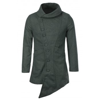 British Style Turn-down Collar Side Buttons Long Sleeves Woolen Coat For Men - DEEP GRAY 2XL