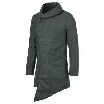 British Style Turn-down Collar Side Buttons Long Sleeves Woolen Coat For Men - 2XL 2XL