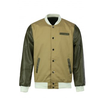 Stand Collar Color Block PU Leather Long Sleeves Polyester Jacket