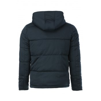 Casual Style Hooded Zipper and Leather Embellished Long Sleeves Men's Thicken Plus Size Cotton Coat - CADETBLUE M