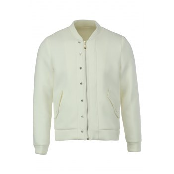 Simple Style Solid Color Stand Collar Slimming Button Embellished Long Sleeves Men's Space Cotton Thicken Jacket - WHITE WHITE