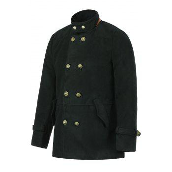 Slimming Trendy Stand Collar Double-Breasted Solid Color Button Embellished Long Sleeves Men's Woolen Coat - BLACK L