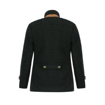 Slimming Trendy Stand Collar Double-Breasted Solid Color Button Embellished Long Sleeves Men's Woolen Coat - 2XL 2XL