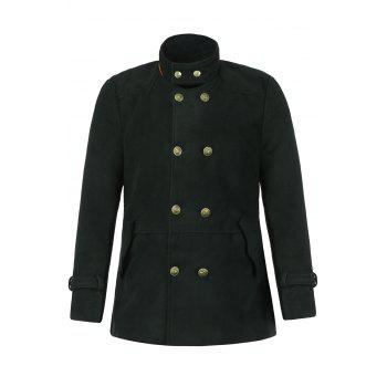 Slimming Trendy Stand Collar Double-Breasted Solid Color Button Embellished Long Sleeves Men's Woolen Coat - BLACK BLACK