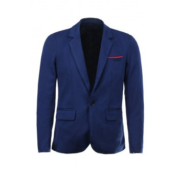 Color Block Polka Dot Spliced Lapel Long Sleeves Men's Single-Breasted Blazer