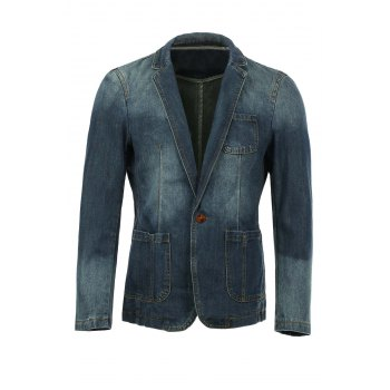 Vogue Lapel Stereo Patch Pocket Long Sleeves Men's Ombre Denim Blazer