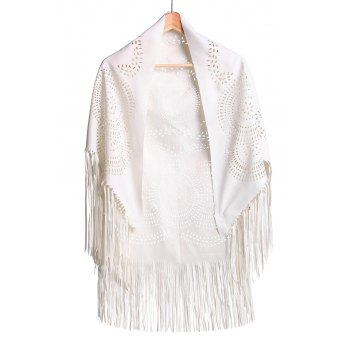 Stylish Half Sleeve Fringed Hollow Out Women's Blouse - OFF-WHITE OFF WHITE