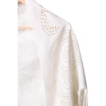 Stylish Half Sleeve Fringed Hollow Out Women's Blouse - OFF WHITE OFF WHITE