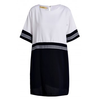 Preppy Style Women's Scoop Neck Short Sleeve Striped Plus Size Dress - WHITE 5XL