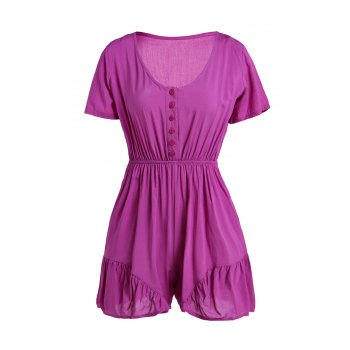 Casual V-Neck Solid Color Elastic Waist Short Sleeve Women's Romper