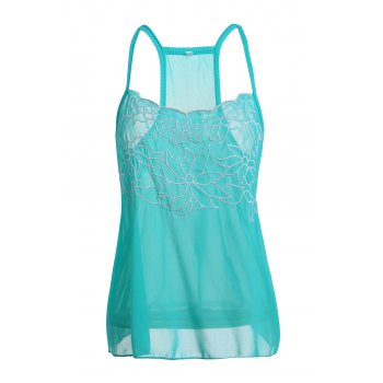 Casual Embroidered Flower Low Cut Chiffon Racerback Tank Top For Women