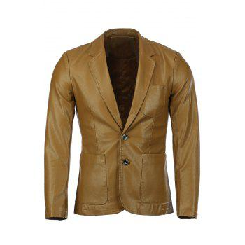 Stereo Patch Pocket Solid Color Lapel Long Sleeves Men's PU Leather Blazer