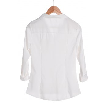 Stylish Turn-Down Collar White Single-Breasted Long Sleeve Women's Blouse - WHITE S