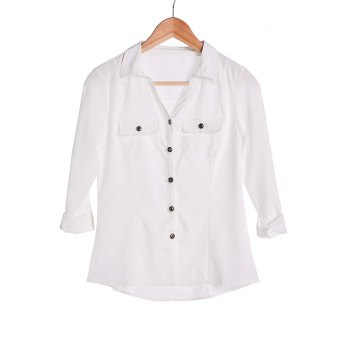 Stylish Turn-Down Collar White Single-Breasted Long Sleeve Women's Blouse - WHITE M