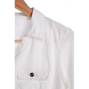 Stylish Turn-Down Collar White Single-Breasted Long Sleeve Women's Blouse - XL XL