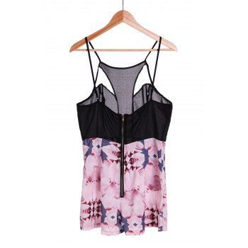 Sexy Women's Strappy Hollow Out Floral Print Romper - BLACK L