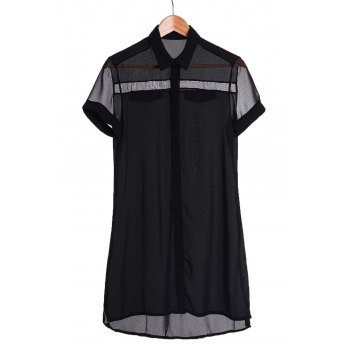 Sexy Short Sleeve Turn-Down Collar Solid Color Asymmetrical Women's Dress - BLACK BLACK