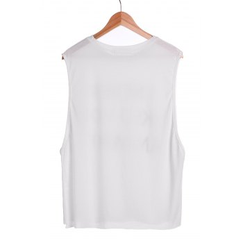 Casual Style Sleeveless Scoop Neck Letter Print Women's T-Shirt - XL XL