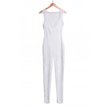 Sexy Plunging Neck Lace See-Through Sleeveless Women's Jumpsuit - WHITE ONE SIZE(FIT SIZE XS TO M)