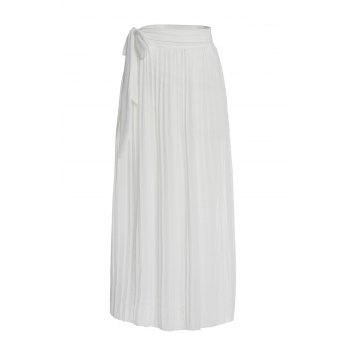 Sexy High Slit White Flounced Skirt For Women