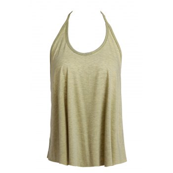 Sexy Open Back Spaghetti Strap Solid Color Women's Tank Top - OLIVE GREEN M