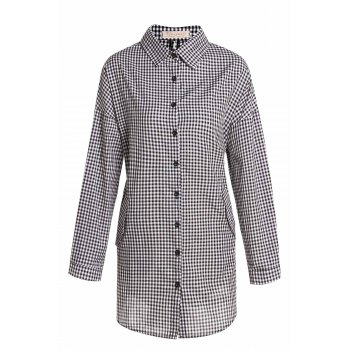 Preppy Style Plaid Polo Collar Long Sleeve Shirt Dress For Women - WHITE AND BLACK WHITE/BLACK