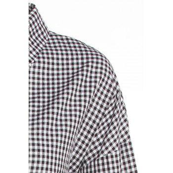 Preppy Style Plaid Polo Collar Long Sleeve Shirt Dress For Women - 5XL 5XL